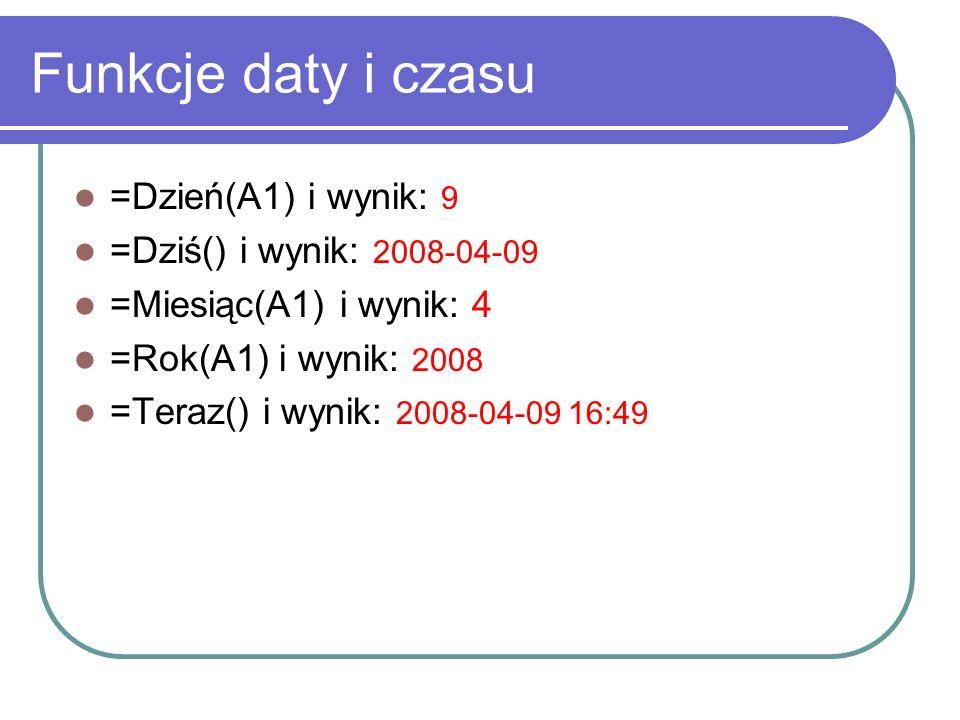 Funkcje daty i czasu =Dzień(A1) i wynik: 9 =Dziś() i wynik: 2008-04-09 =Miesiąc(A1) i wynik: 4 =Rok(A1) i wynik: 2008 =Teraz() i wynik: 2008-04-09 16:49