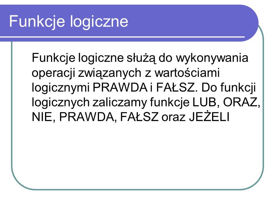 Funkcje tekstowe =Dł(A2) długość – 11 =FRAGMENT.TEKSTU(A2;1;4) – info =PODSTAW(A2; infor ; mate ) – matematyka