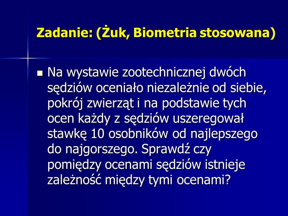 Zadanie: (Żuk, Biometria stosowana) Na wystawie zootechnicznej dwóch sędziów oceniało niezależnie od siebie, pokrój zwierząt i na podstawie tych ocen