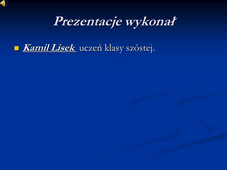 Prezentacje wykonał Kamil Lisek uczeń klasy szóstej. Kamil Lisek uczeń klasy szóstej.