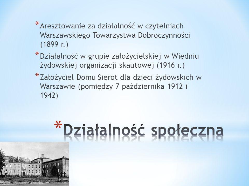 * Maj 1942 trafia do Getta warszawskiego * Odrzuca liczne propozycje przejścia na aryjską stronę * Stary pandoktor nie zdecydował się opuścić swych podopiecznych, choć międzynarodowa sława dawała mu szansę na przeczekanie wojny w każdym neutralnym kraju Zachodu * Ostatni zapisek w Dzienniku 5 sierpnia 1942 r.