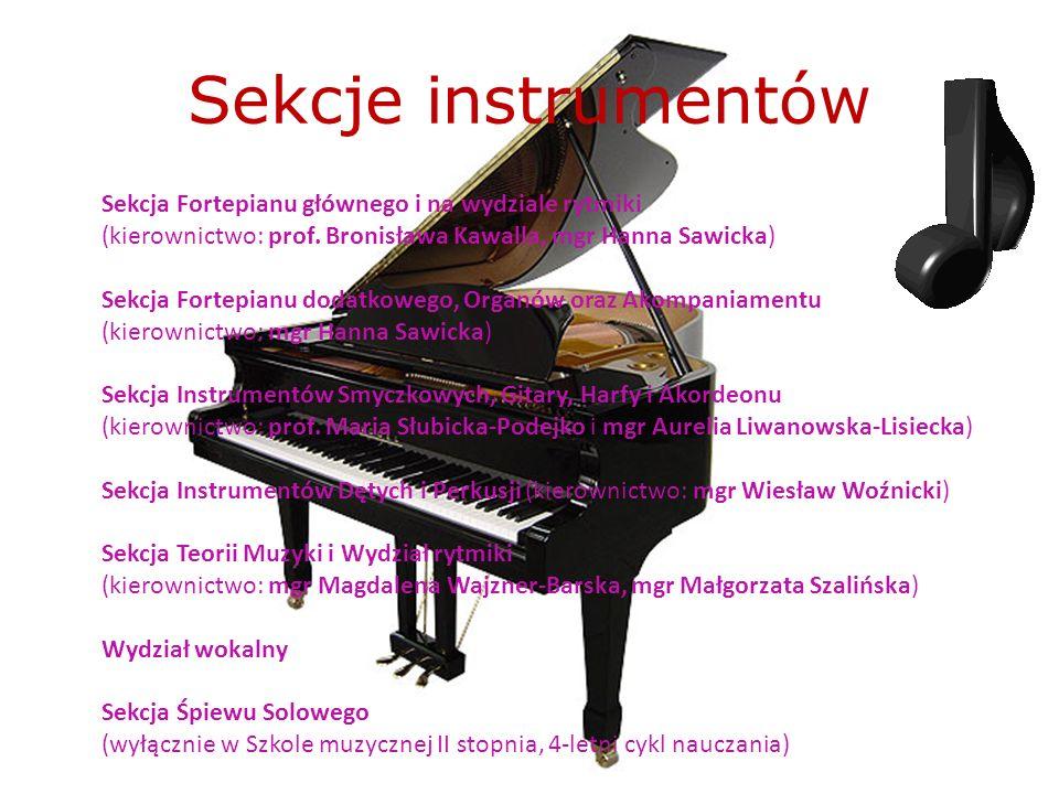 Sekcje instrumentów Sekcja Fortepianu głównego i na wydziale rytmiki (kierownictwo: prof. Bronisława Kawalla, mgr Hanna Sawicka) Sekcja Fortepianu dod