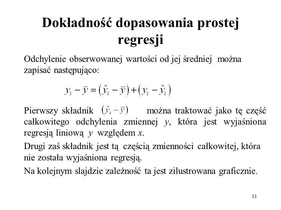 11 Dokładność dopasowania prostej regresji Odchylenie obserwowanej wartości od jej średniej można zapisać następująco: Pierwszy składnik można traktować jako tę część całkowitego odchylenia zmiennej y, która jest wyjaśniona regresją liniową y względem x.