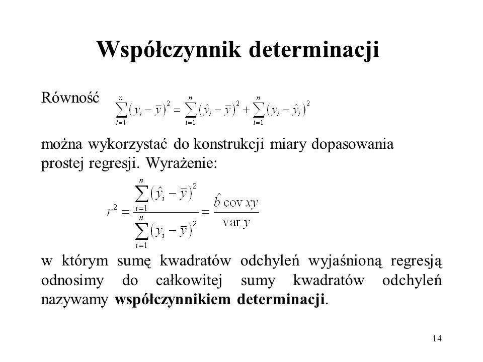14 Współczynnik determinacji Równość można wykorzystać do konstrukcji miary dopasowania prostej regresji.