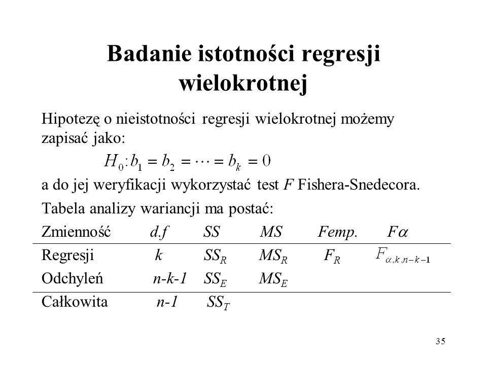 35 Badanie istotności regresji wielokrotnej Hipotezę o nieistotności regresji wielokrotnej możemy zapisać jako: a do jej weryfikacji wykorzystać test F Fishera-Snedecora.