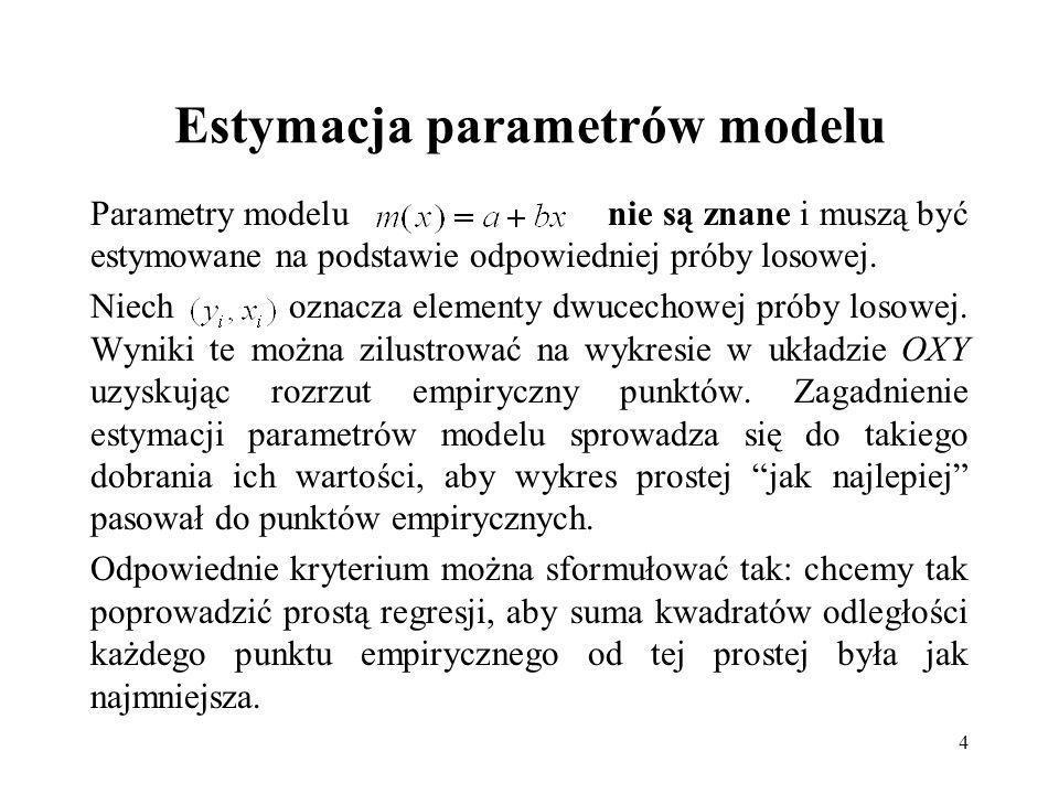 4 Estymacja parametrów modelu Parametry modelu nie są znane i muszą być estymowane na podstawie odpowiedniej próby losowej.