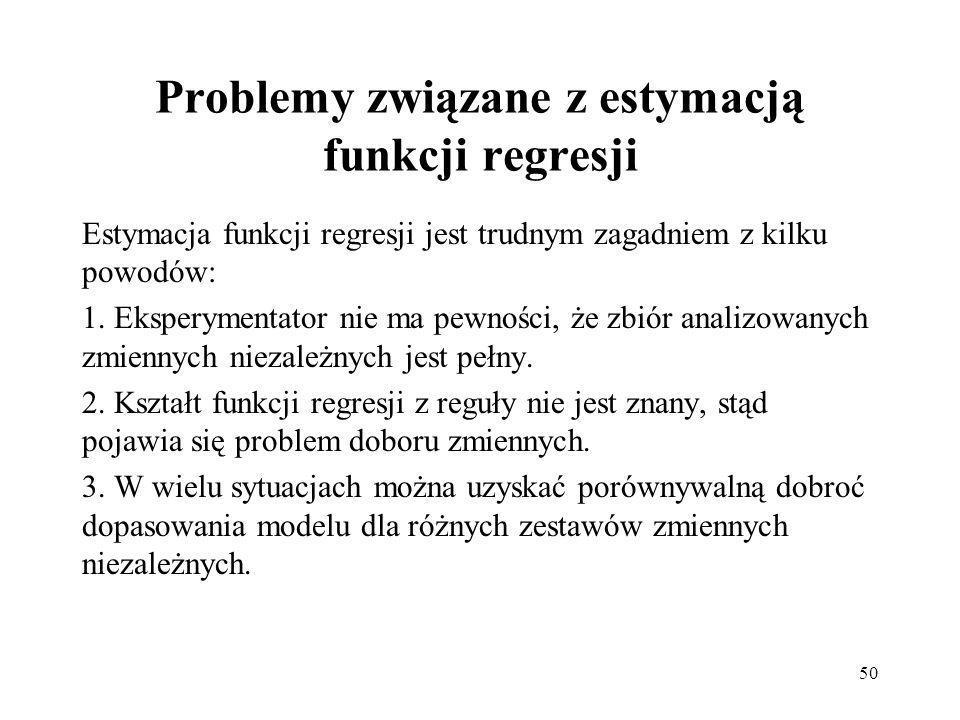 50 Problemy związane z estymacją funkcji regresji Estymacja funkcji regresji jest trudnym zagadniem z kilku powodów: 1.