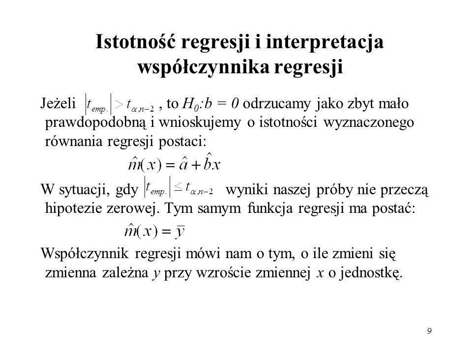 9 Istotność regresji i interpretacja współczynnika regresji Jeżeli, to H 0 :b = 0 odrzucamy jako zbyt mało prawdopodobną i wnioskujemy o istotności wyznaczonego równania regresji postaci: W sytuacji, gdy wyniki naszej próby nie przeczą hipotezie zerowej.