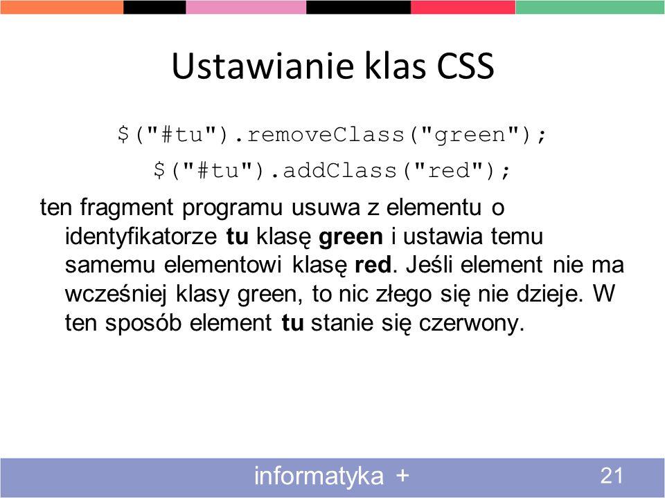 Ustawianie klas CSS 21 informatyka + $(
