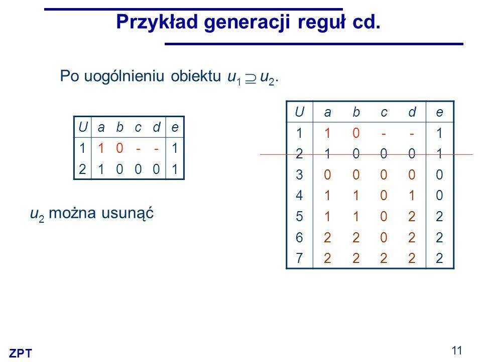 ZPT 11 Przykład generacji reguł cd. Uabcde 110--1 210001 Po uogólnieniu obiektu u 1 u 2. u 2 można usunąć Uabcde 110--1 210001 300000 411010 511022 62