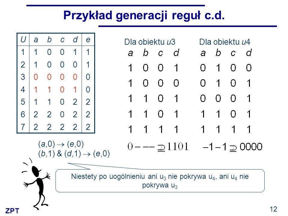 ZPT 12 Przykład generacji reguł c.d. Uabcde 110011 210001 300000 411010 511022 622022 722222 (a,0) (e,0) (b,1) & (d,1) (e,0) Dla obiektu u3Dla obiektu