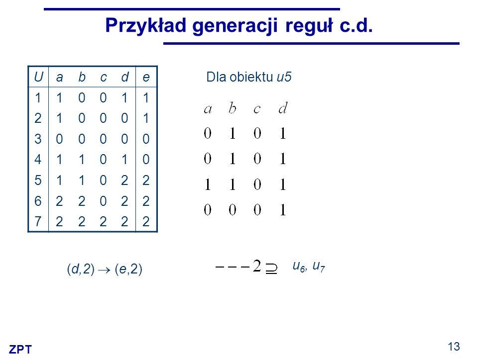 ZPT 13 Przykład generacji reguł c.d. Uabcde 110011 210001 300000 411010 511022 622022 722222 (d,2) (e,2) Dla obiektu u5 u 6, u 7