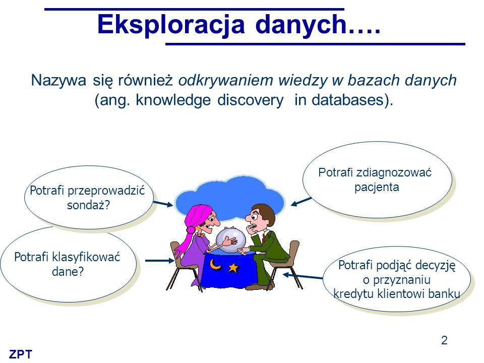 ZPT 2 Potrafi zdiagnozować pacjenta Potrafi zdiagnozować pacjenta Potrafi podjąć decyzję o przyznaniu kredytu klientowi banku Potrafi podjąć decyzję o