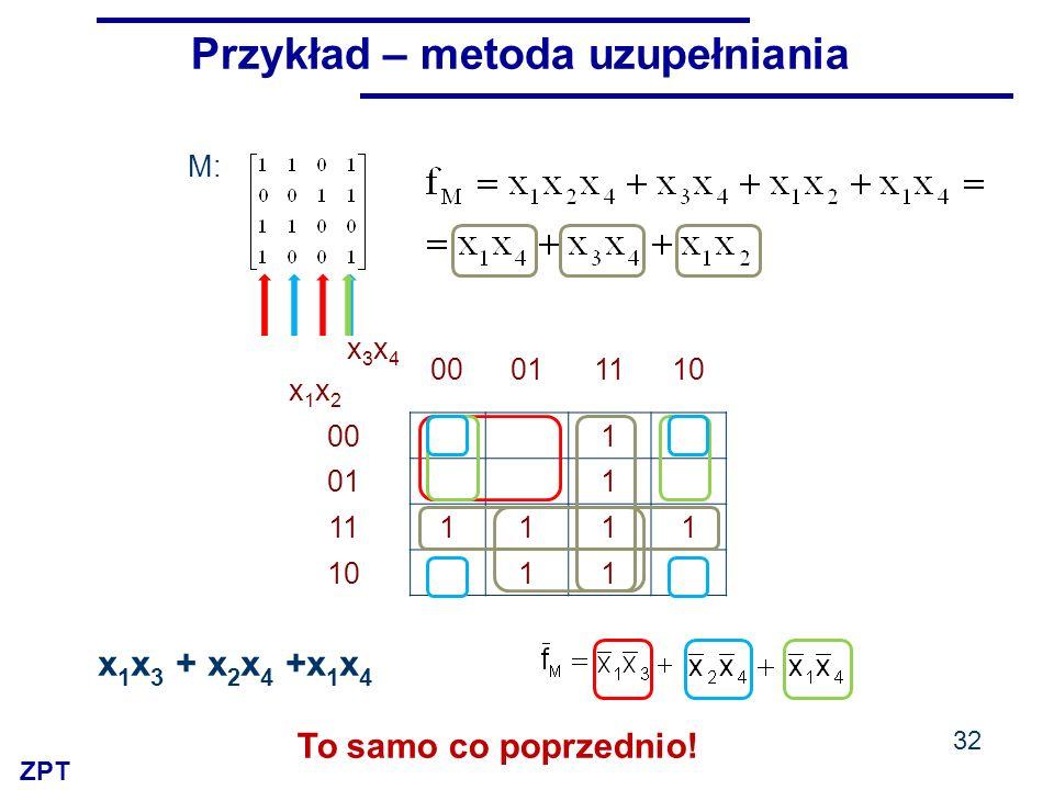 ZPT x3x4x1x2x3x4x1x2 00011110 00 1 01 1 111111 10 11 M: 32 Przykład – metoda uzupełniania x 1 x 3 + x 2 x 4 +x 1 x 4 To samo co poprzednio!