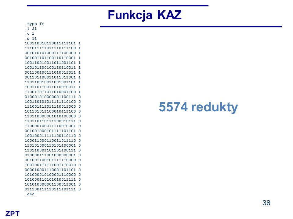 ZPT 38 Funkcja KAZ.type fr.i 21.o 1.p 31 100110010110011111101 1 111011111011110111100 1 001010101000111100000 1 001001101100110110001 1 1001100100110
