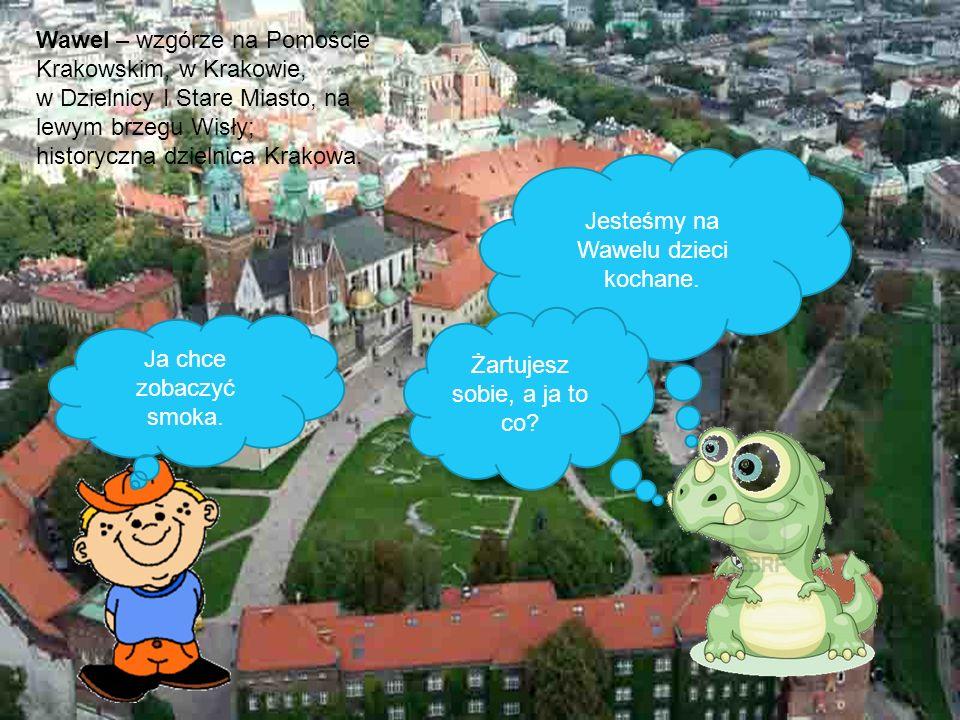 Jesteśmy na Wawelu dzieci kochane. Ja chce zobaczyć smoka. Żartujesz sobie, a ja to co? Wawel – wzgórze na Pomoście Krakowskim, w Krakowie, w Dzielnic