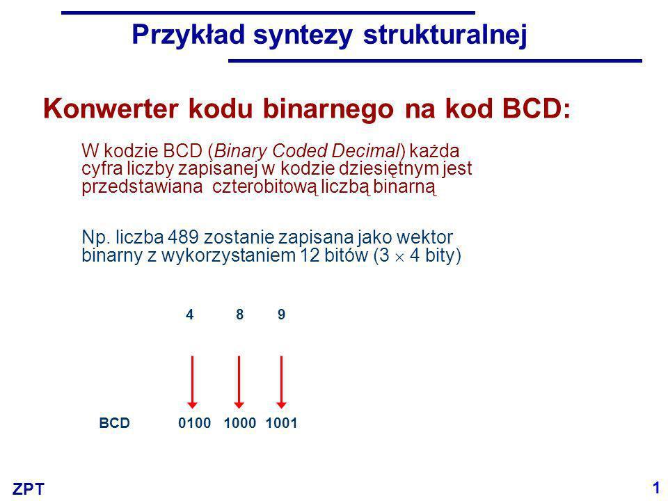 ZPT Przykład syntezy strukturalnej W kodzie BCD (Binary Coded Decimal) każda cyfra liczby zapisanej w kodzie dziesiętnym jest przedstawiana czterobito
