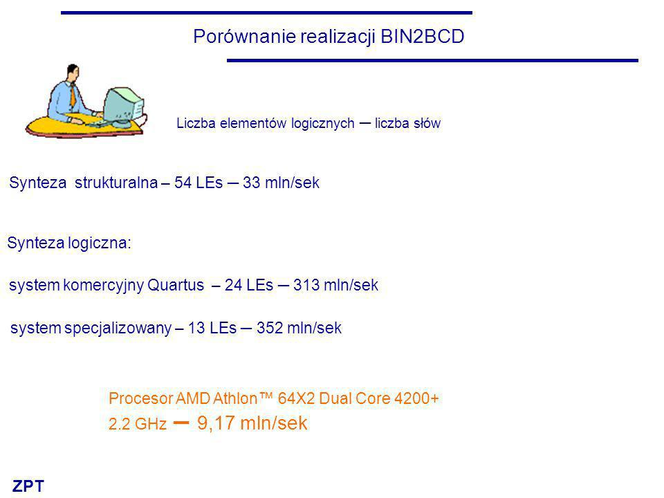 ZPT Porównanie realizacji BIN2BCD Synteza strukturalna – 54 LEs 33 mln/sek Synteza logiczna: system komercyjny Quartus – 24 LEs 313 mln/sek system spe