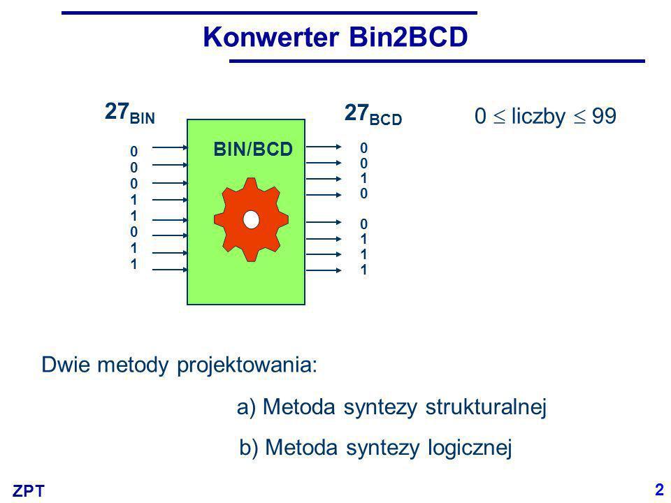 ZPT Konwerter Bin2BCD BIN/BCD 0 liczby 99 0001101100011011 27 BIN 2 Dwie metody projektowania: a) Metoda syntezy strukturalnej b) Metoda syntezy logic