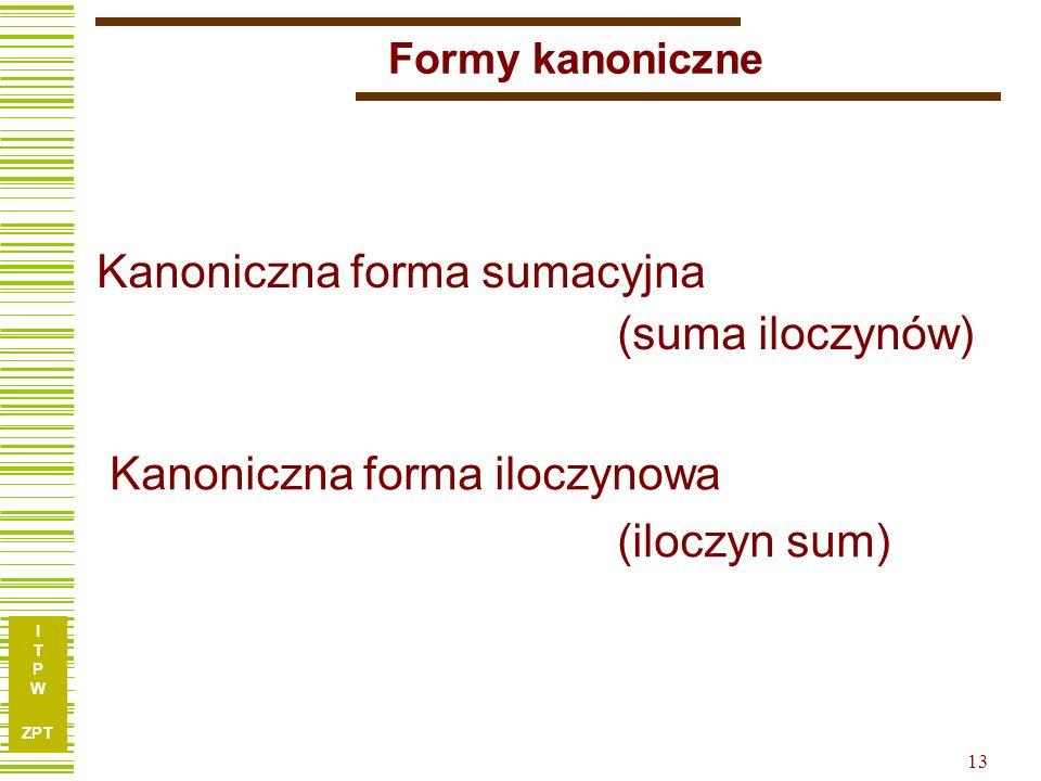 I T P W ZPT I T P W ZPT 12 Implikant funkcji boolowskiej W interpretacji tablic Karnaugha implikant prosty odpowiada grupie jedynek (i kresek), której