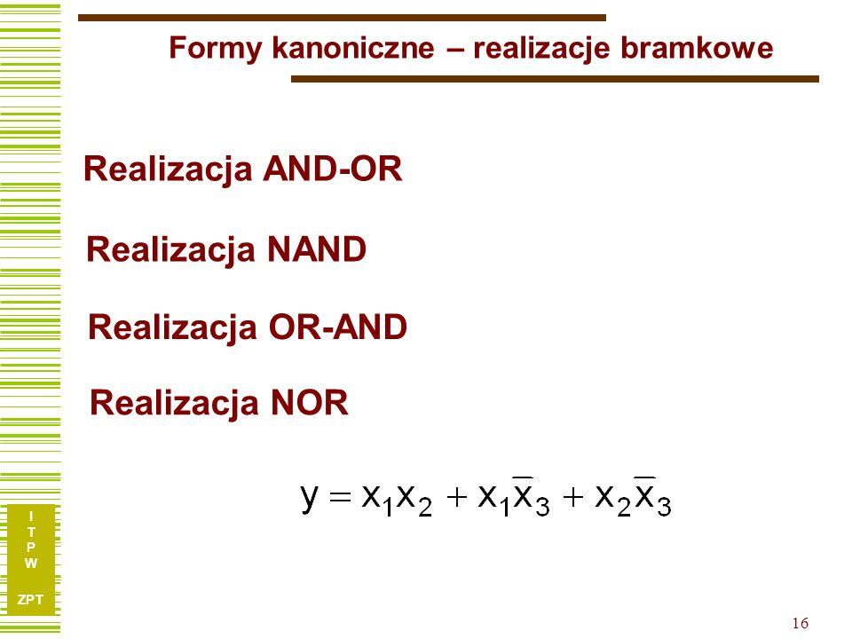 I T P W ZPT I T P W ZPT 15 Kanoniczna forma iloczynowa x1x1 x2x2 x3x3 f 00000 10011 20100 30111 41000 51011 61101 71111