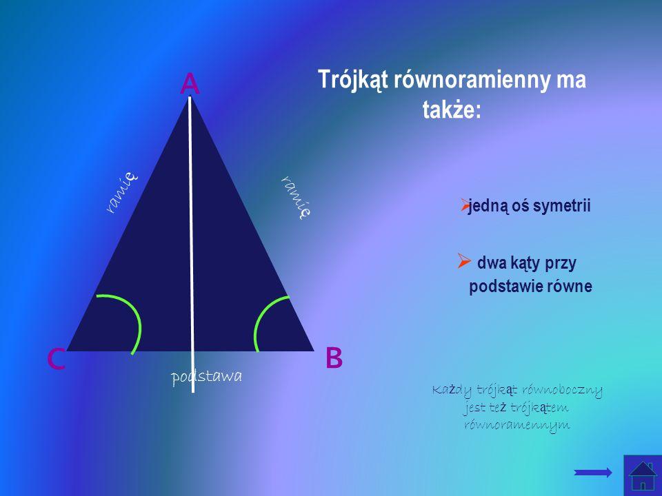 Trójkąt równoramienny ma także: B jedną oś symetrii dwa kąty przy podstawie równe C A rami ę podstawa Ka ż dy trójk ą t równoboczny jest te ż trójk ą tem równoramennym