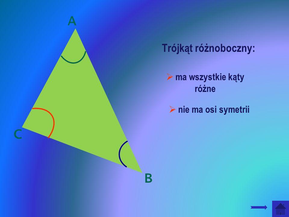 ma wszystkie kąty różne nie ma osi symetrii Trójkąt różnoboczny: A B C