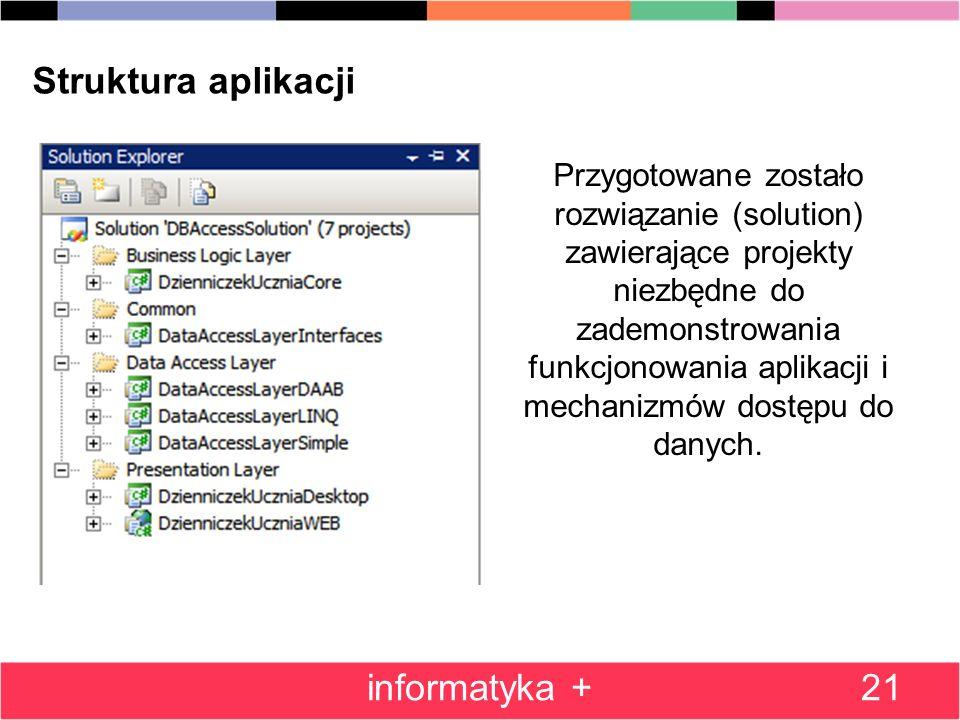 21 Struktura aplikacji Przygotowane zostało rozwiązanie (solution) zawierające projekty niezbędne do zademonstrowania funkcjonowania aplikacji i mechanizmów dostępu do danych.