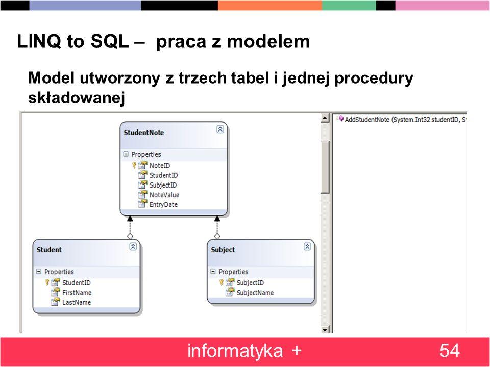 54 LINQ to SQL – praca z modelem Model utworzony z trzech tabel i jednej procedury składowanej informatyka +