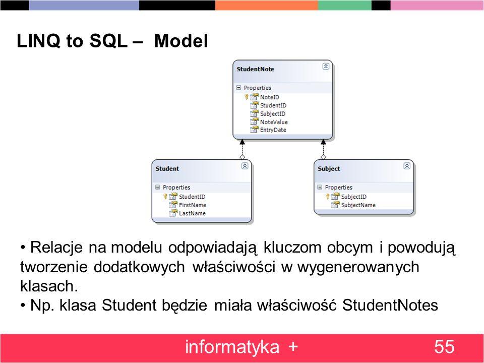 55 LINQ to SQL – Model Relacje na modelu odpowiadają kluczom obcym i powodują tworzenie dodatkowych właściwości w wygenerowanych klasach.