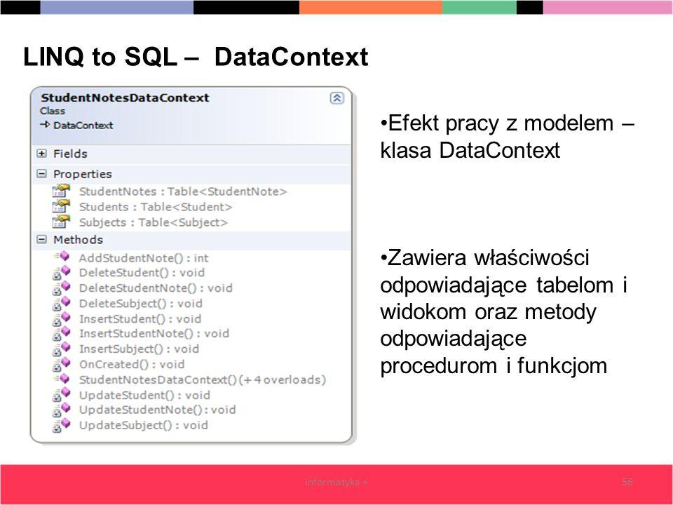 56 LINQ to SQL – DataContext Efekt pracy z modelem – klasa DataContext Zawiera właściwości odpowiadające tabelom i widokom oraz metody odpowiadające procedurom i funkcjom informatyka +