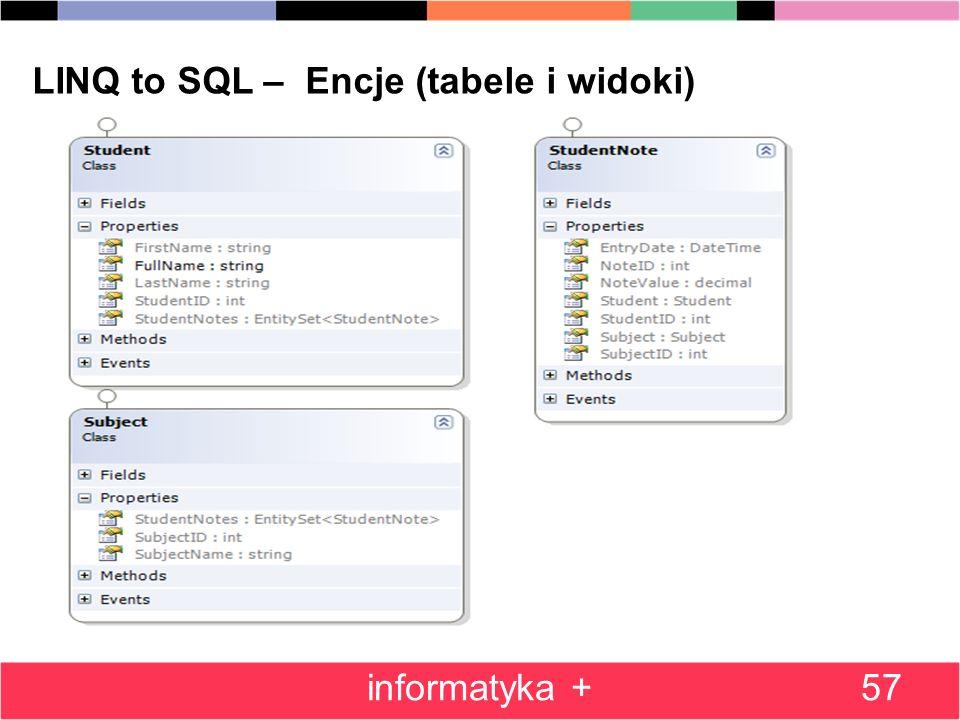 57 LINQ to SQL – Encje (tabele i widoki) informatyka +