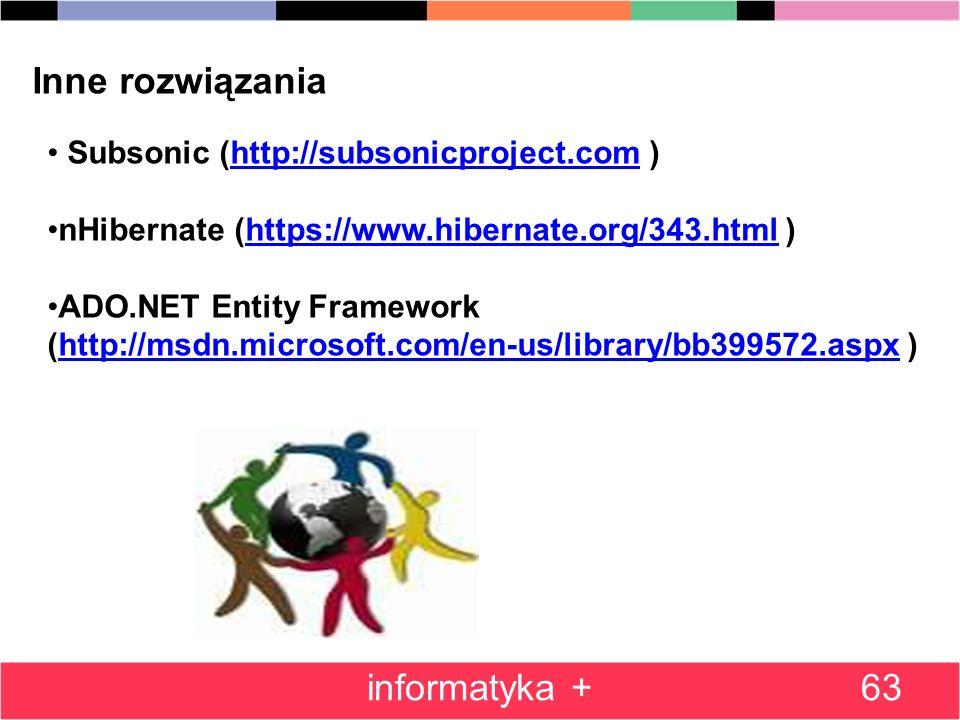 63 Inne rozwiązania Subsonic (http://subsonicproject.com )http://subsonicproject.com nHibernate (https://www.hibernate.org/343.html )https://www.hibernate.org/343.html ADO.NET Entity Framework (http://msdn.microsoft.com/en-us/library/bb399572.aspx )http://msdn.microsoft.com/en-us/library/bb399572.aspx informatyka +