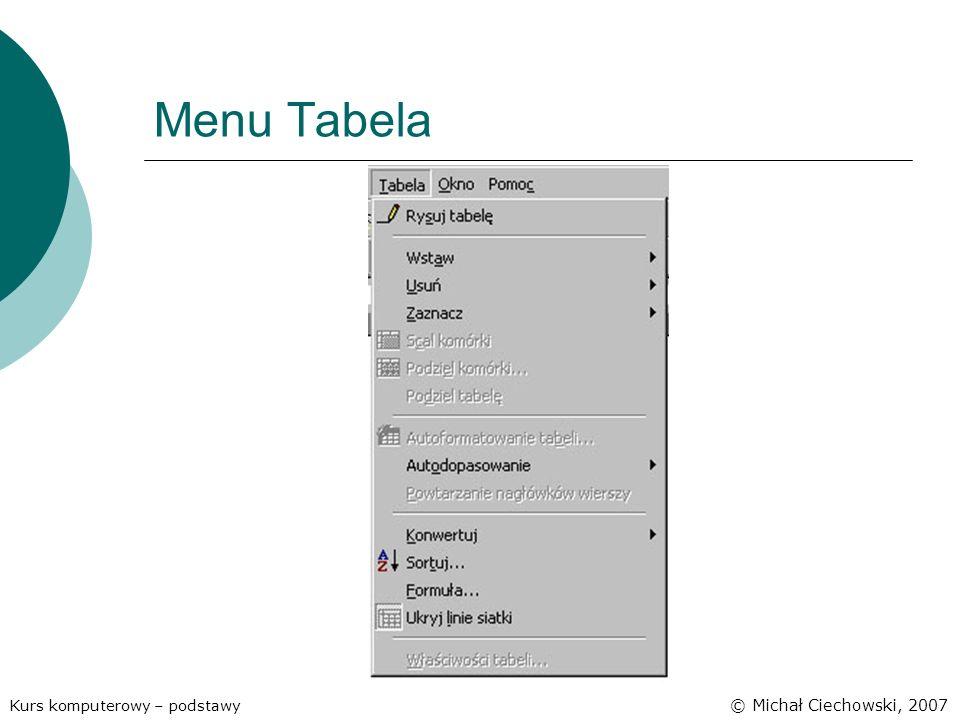 Menu Tabela Kurs komputerowy – podstawy © Michał Ciechowski, 2007
