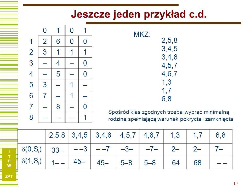 I T P W ZPT 17 Jeszcze jeden przykład c.d. 0101 12600 23111 3–4–0 4–5–0 53–1– 67–1– 7–8–0 8–––1 2,5,83,4,53,4,64,5,74,6,71,31,76,8 (0,S i ) (1,S i ) 2
