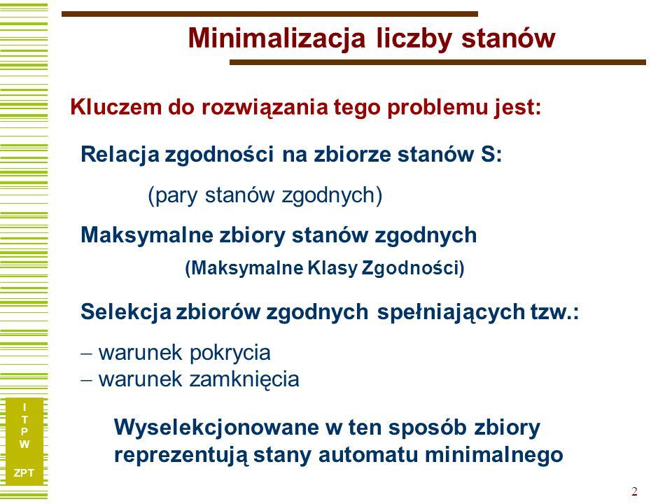 I T P W ZPT 3 Jak wyznaczać relację zgodności stanów.