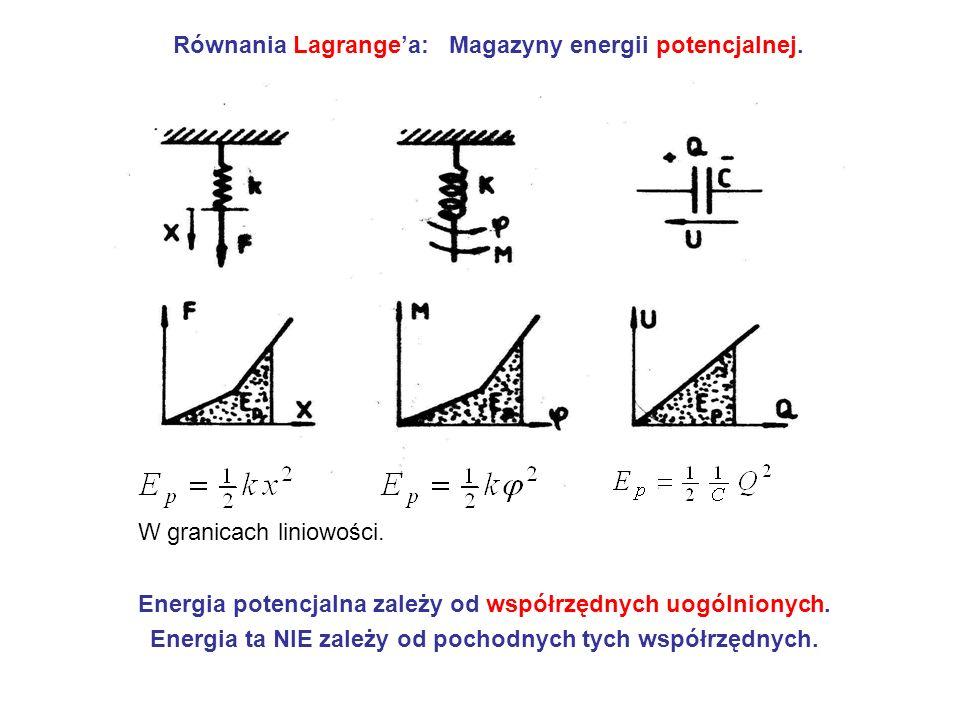 Równania Lagrangea: Magazyny energii potencjalnej. Energia potencjalna zależy od współrzędnych uogólnionych. Energia ta NIE zależy od pochodnych tych