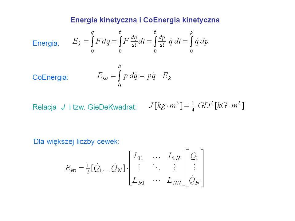 Energia kinetyczna i CoEnergia kinetyczna Energia: CoEnergia: Relacja J i tzw. GieDeKwadrat: Dla większej liczby cewek: