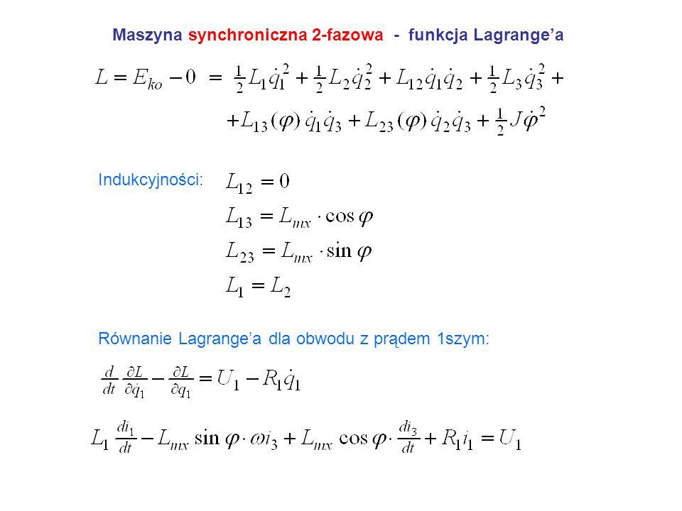 Maszyna synchroniczna 2-fazowa - funkcja Lagrangea Indukcyjności: Równanie Lagrangea dla obwodu z prądem 1szym: