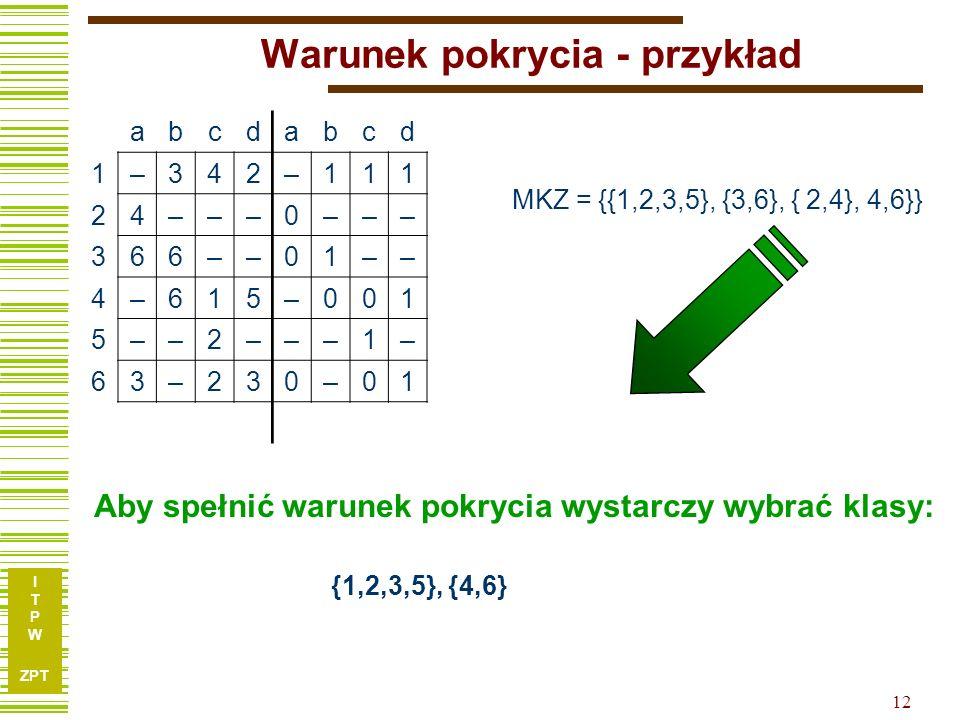 I T P W ZPT 12 Warunek pokrycia - przykład abcdabcd 1–342–111 24–––0––– 366––01–– 4–615–001 5––2–––1– 63–230–01 MKZ = {{1,2,3,5}, {3,6}, { 2,4}, 4,6}} Aby spełnić warunek pokrycia wystarczy wybrać klasy: {1,2,3,5}, {4,6}
