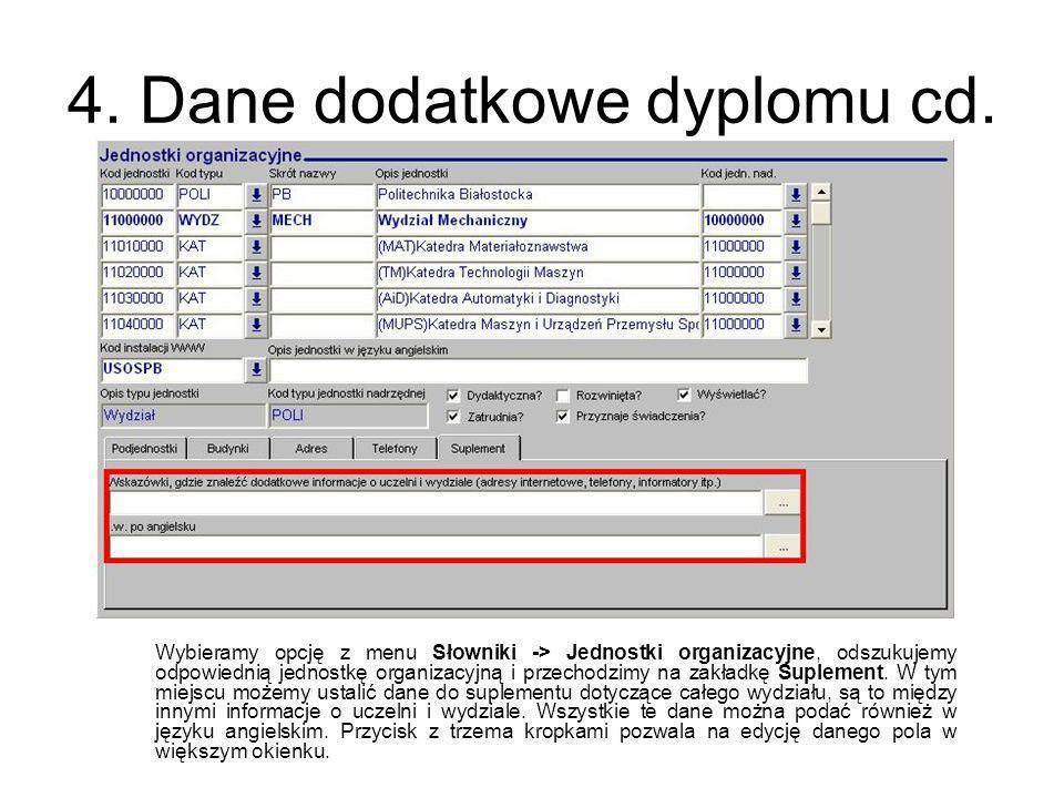 4. Dane dodatkowe dyplomu cd. Wybieramy opcję z menu Słowniki -> Jednostki organizacyjne, odszukujemy odpowiednią jednostkę organizacyjną i przechodzi