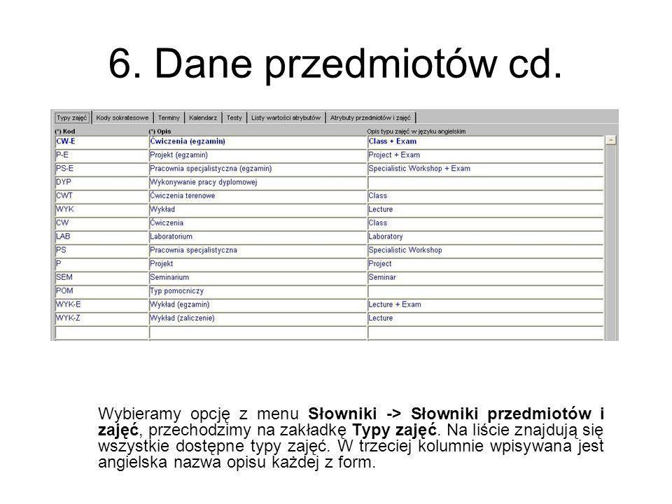 6. Dane przedmiotów cd. Wybieramy opcję z menu Słowniki -> Słowniki przedmiotów i zajęć, przechodzimy na zakładkę Typy zajęć. Na liście znajdują się w