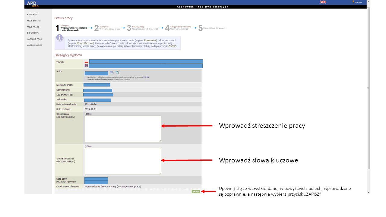 Wgrywamy plik.pdf z pracą dyplomową.(Uwaga. Maksymalny rozmiar pliku pdf.