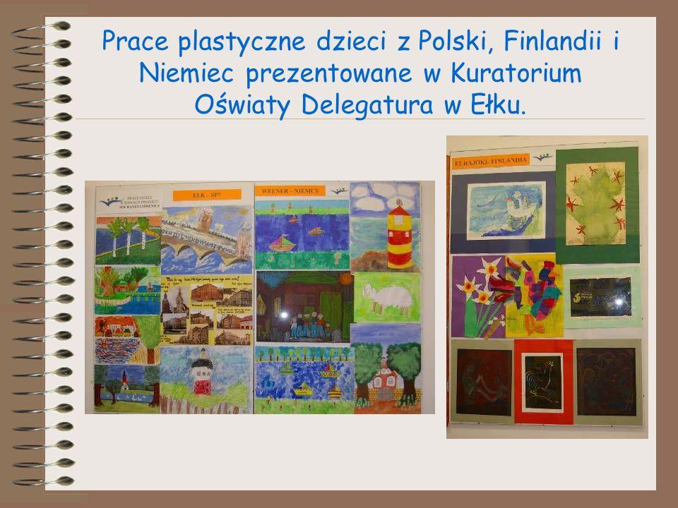 Prace plastyczne dzieci z Polski, Finlandii i Niemiec prezentowane w Kuratorium Oświaty Delegatura w Ełku.