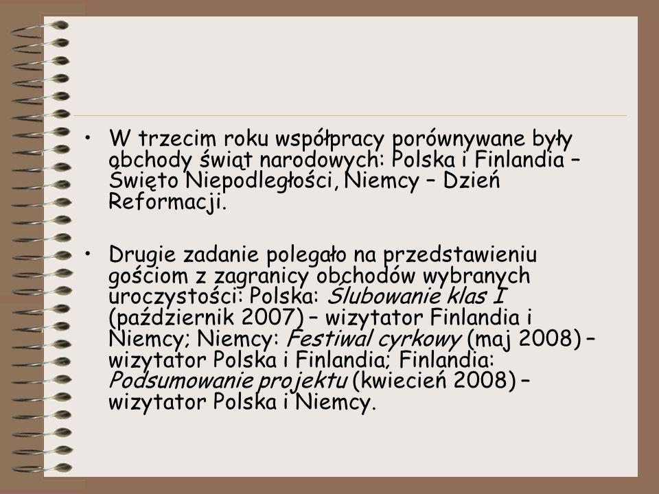 W trzecim roku współpracy porównywane były obchody świąt narodowych: Polska i Finlandia – Święto Niepodległości, Niemcy – Dzień Reformacji. Drugie zad