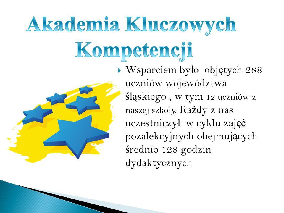 Wsparciem by ł o obj ę tych 288 uczniów województwa ś l ą skiego, w tym 12 uczniów z naszej szko ł y.