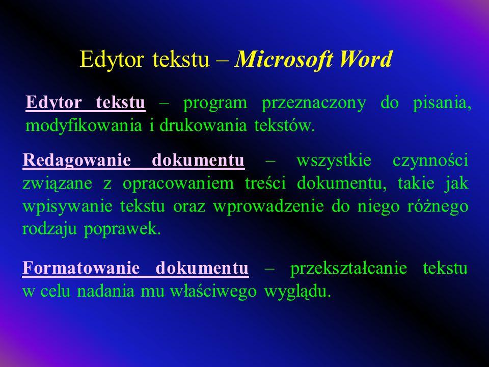 Edytor tekstu – Microsoft Word Edytor tekstu – program przeznaczony do pisania, modyfikowania i drukowania tekstów.