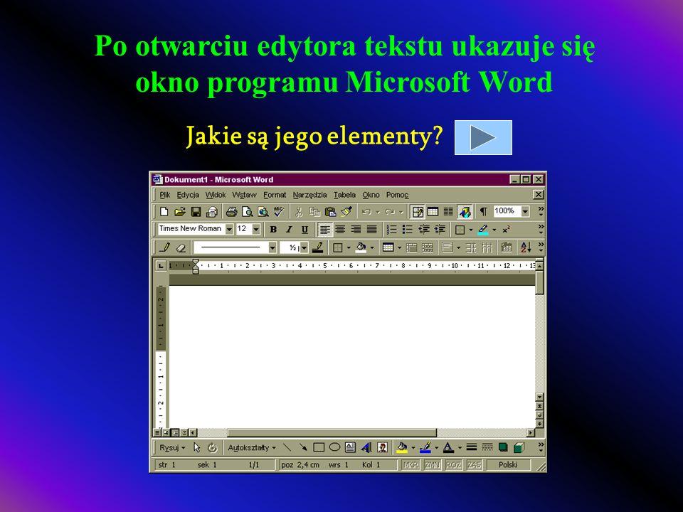 Po otwarciu edytora tekstu ukazuje się okno programu Microsoft Word Jakie są jego elementy?