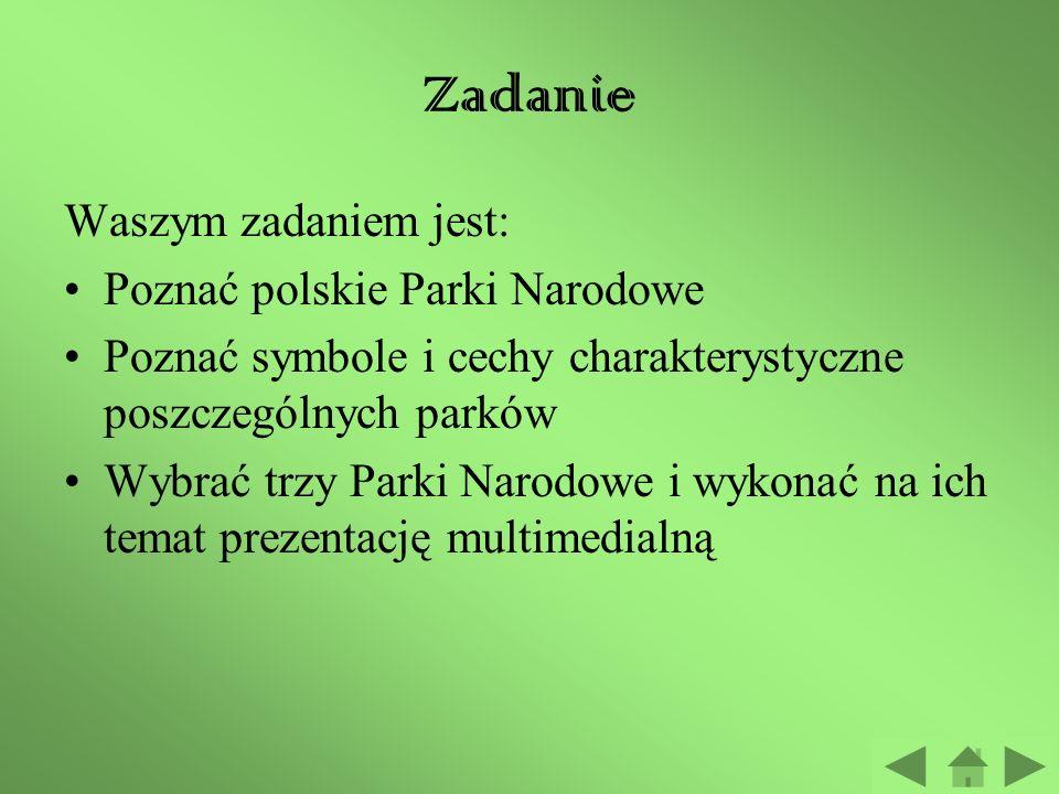 Zadanie Waszym zadaniem jest: Poznać polskie Parki Narodowe Poznać symbole i cechy charakterystyczne poszczególnych parków Wybrać trzy Parki Narodowe i wykonać na ich temat prezentację multimedialną