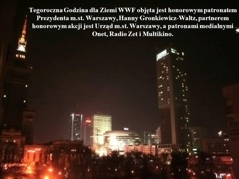 Tegoroczna Godzina dla Ziemi WWF objęta jest honorowym patronatem Prezydenta m.st. Warszawy, Hanny Gronkiewicz-Waltz, partnerem honorowym akcji jest U
